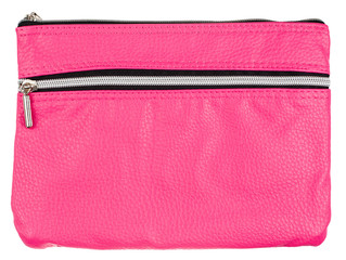 pink cosmetic bag isolated on white background