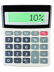 Calculator with 10% on display on white background