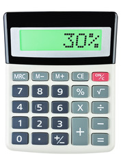 Calculator with 30% on display on white background