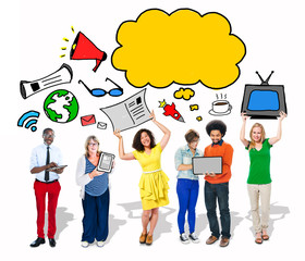 Group of People with Speech Bubble and Digital Media Concept