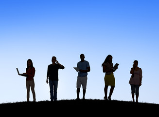 Silhouettes of Business People Social Networking Outdoors