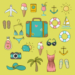 Collection of vector icons on summer, travel or vacation