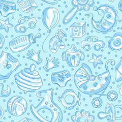seamless pattern baby icons for boys