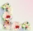 Greeting vintage floral card in pastel colors