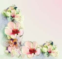 Greeting vintage floral card in pastel colors