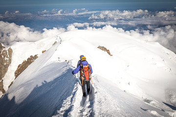 descent from the summit of Mont Blanc in France