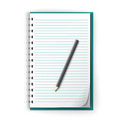 Lined notepad and pencil