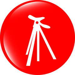 photo tripod web icon, button isolated on white