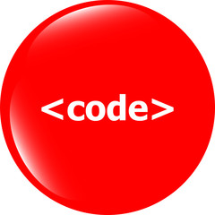 Code sign icon. Programming language symbol. Circles buttons