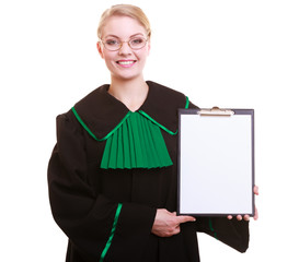 Woman lawyer attorney in classic polish gown