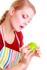 Housewife or chef in kitchen apron using apple timer isolated