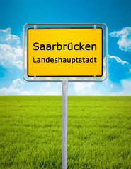 city sign of Saarbrücken