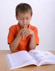 Boy reading homework