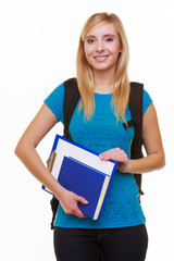 Casual girl female student with bag backpack