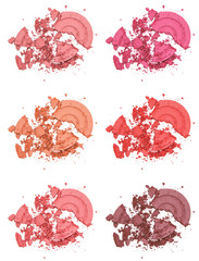 Different shades of powder blush