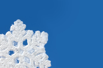 Blue background with snowflake.