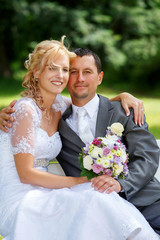 beautiful young wedding couple