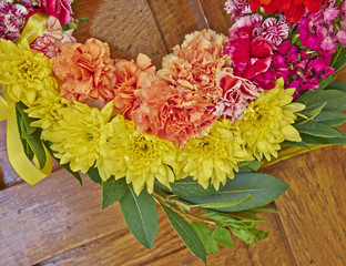 colorful flowers wreath partial view closeup