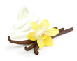 Vanilla pods, flower and ice cream