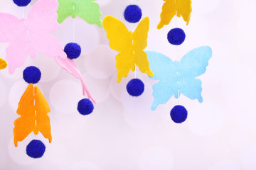 Handmade garland on light background