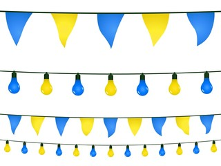 Yellow and blue garlands