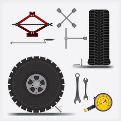 Vector of tires and wheel service