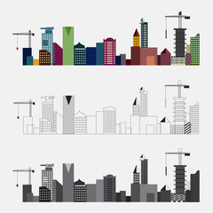 Vector of Gray scale and Colorful Buildings