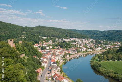 canvas print picture Neckar bei Neckarsteinach
