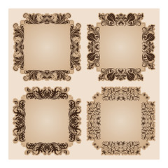 Set of  frames for design on beige