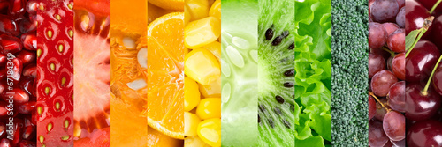 Collection with different fruits and vegetables poster