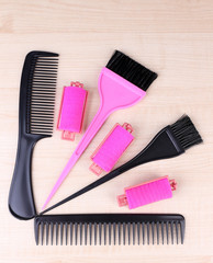 Professional hairdresser tools - comb, scissors and curlers