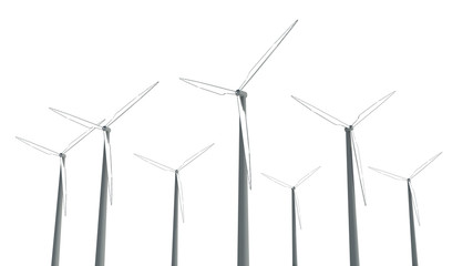 Wind Turbines on white background