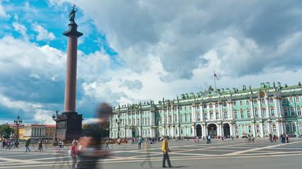 Schlossplatz. St. Petersburg. Russia. timelapse