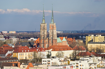 Wroclaws cityscape with churches on Tum Island, Poland