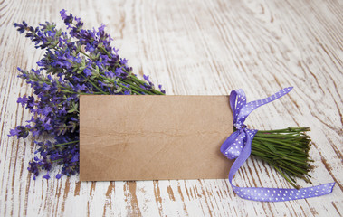 Lavender on vintage wood with blank