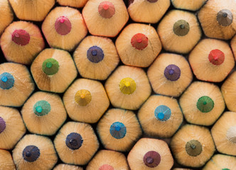 closeup of a wall of colorful pencils