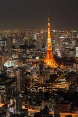 六本木ヒルズのスカイデッキより東京タワーの夜景