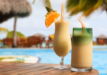 Two cocktails on tropical beach