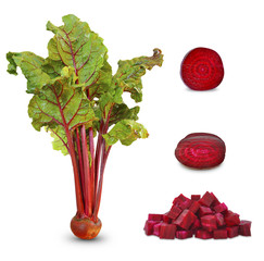 beetroots with leaf and half on a white background