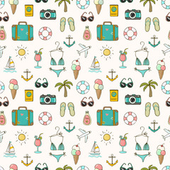On vacation summer seamless pattern