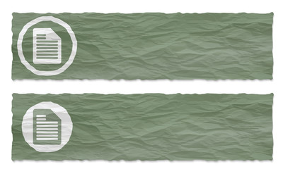 set of two banners with crumpled paper and document icon
