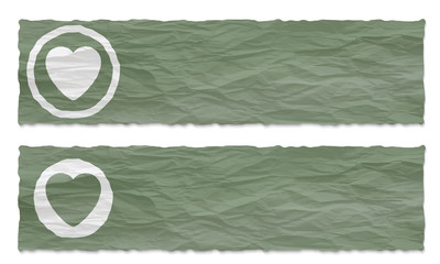 set of two banners with crumpled paper and heart