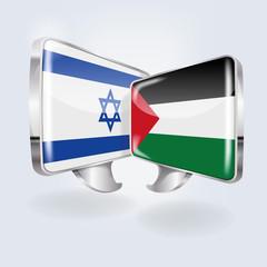 Sprechblasen in israelisch und palästinensisch