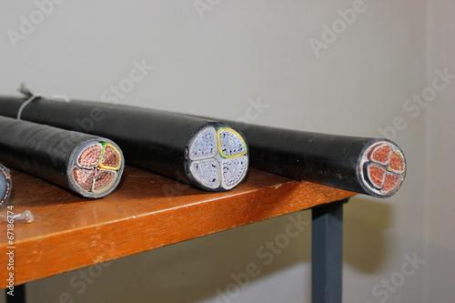 Leinwanddruck Bild Der Querschnitt verschiedener mehradriger Kabel