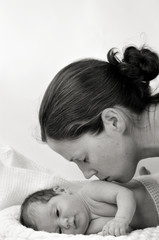 Mother and Newborn baby - portrait
