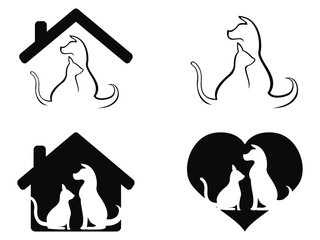 dog and cat pet caring symbol