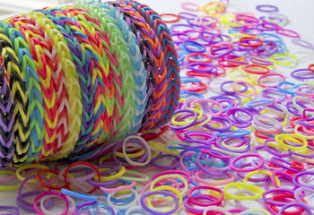 Rubber bands used for making jewellery