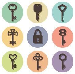 vector icons of keys of different shapes