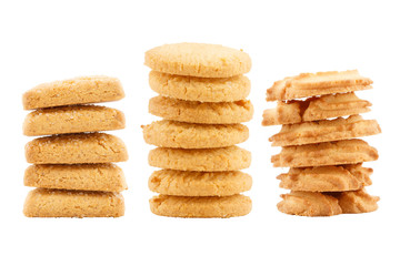 Set of butter cookies isolated on white background