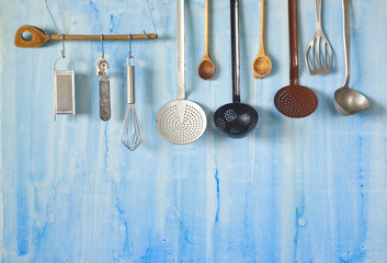 vintage kitchen utensils, cooking concept,free copy space